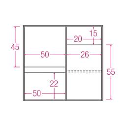 サイズが選べる家電収納キッチンカウンター ロータイプ 幅90cm 内寸図(単位:cm)