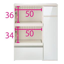 サイズが選べる家電収納キッチンカウンター ハイタイプ 幅90cm (ア)ホワイト ※お届けは【ハイタイプ 幅90cm】です。