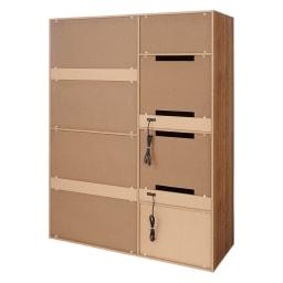 大量収納 3枚引き戸キッチン収納庫 (ア)ブラウン(背面)
