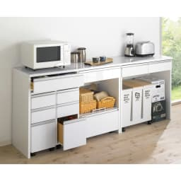 キッチン通路をキレイにする!下オープンダイニングシリーズ レンジボード・幅120cm高さ175cm シリーズ商品のチェストやキッチンワゴンを合わせて使いやすいキッチンを。 ※お届けはカウンター幅90cmです。