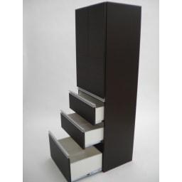 組立不要!家電を隠せるキッチン収納シリーズ 食器棚幅78cm 引き出し内寸:幅73.5奥行38.5高さ上=17.5 2段目=19.5 最下段=32.5cm(2Lペットボトルが入ります。)