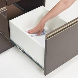 高機能 モダンシックキッチンシリーズ キッチンボード 幅140高さ178cm(カウンター高さ85cm) 引出し内部も美しく化粧されているので、汚れてもお手入れ簡単。