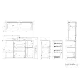 高機能 モダンシックキッチンシリーズ キッチンボード 幅140高さ178cm(カウンター高さ85cm) 奥行45cmタイプ 詳細図(単位:mm)