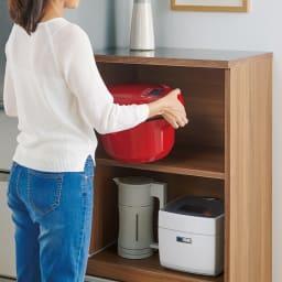 時短が叶う家電活用ハイカウンター 幅60cm 上段オープン部には電子圧力鍋など調理家電を置いて効率よく。(オープン部幅55高さ35cm)