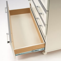 収納しやすいステンレストップカウンター ハイタイプ幅118cm フルスライドレール採用(小引き出しを除く