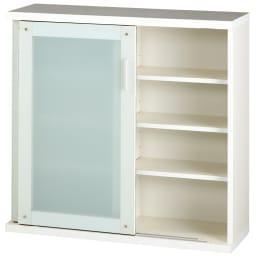 収納物の見やすい ガラス戸カウンター下収納庫 引き戸・幅150cm 可動収納棚板6枚付き。  ※写真は引き戸・幅90cmです。