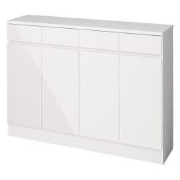 家電も小物も使いやすくしまえるカウンター下収納庫 カウンター扉 幅117.5cm (ア)ホワイト