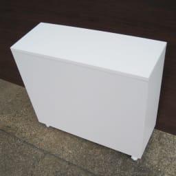 サッと片付くカウンター下収納ワゴン 扉 幅79cm (ア)ホワイト