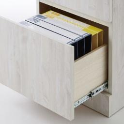 ヴィンテージ調ホワイト木目カウンター下収納庫 引き出し 幅45cm高さ90cm 引き出しの最下段には、A4サイズが収納可能。