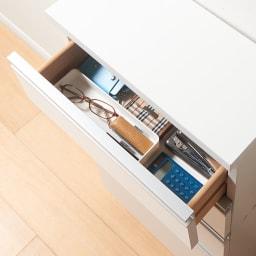 ストレートライン カウンター下収納庫 引き出しタイプ幅45cm  薄型タイプ 文房具やカトラリー、キッチン雑貨の収納に便利。