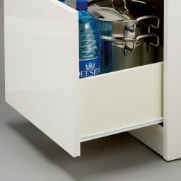 組立不要!幅1cm単位で124サイズから選べるすき間収納庫 ロータイプ 幅31~45cm・奥行45cm 引き出しはスムーズに開閉できるコロレール付き。重いものを入れても安心。