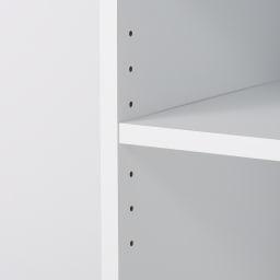 ゴミ箱上を有効活用!キッチンカウンター作業台 幅59cm・奥行34cm 中段のオープン棚は3cm間隔で7段階に高さ調節できます。