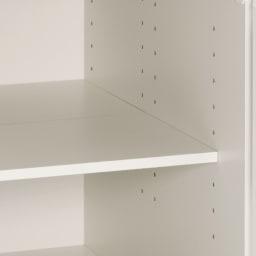 組立不要 ステンレス天板隙間収納 段違い棚扉タイプ 幅44.5cm・奥行55cm 棚板は可動できます。
