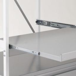 大型レンジ対応レンジラック ペール3分別ゴミ箱付きレンジ台 スライドレールをリニューアル!より強く、より使いやすいスライドテーブルを装備しました。