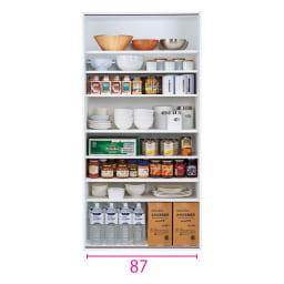 頑丈引き戸キッチンストッカー 幅91cm 収納イメージ(ア)ホワイト ※赤文字は内寸(単位:cm)