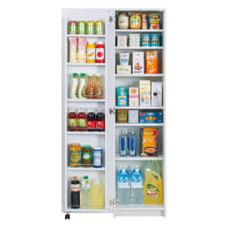 大容量なのに探しやすい!ドアポケット付きキッチンストッカー 幅45cm 扉は組立時に左右を選べます。 ※写真は左開き
