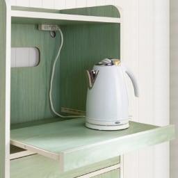キッチン収納ミニ食器棚シリーズ レンジ台小(高さ90.5cm) スライドテーブルは蒸気の出る家電にも対応。