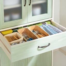 キッチン収納ミニ食器棚シリーズ キャビネット大(高さ120.5cm) 小物の整理に便利な引き出し。