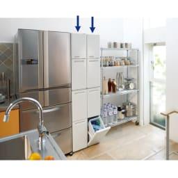キッチンすき間収納 トールタイプダストボックス 3分別 鋼板を使用し、樹脂にはない高級感が魅力です。