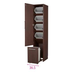 組立不要 キッチン分別タワーダストボックス 5分別 ゴミ箱タイプ (イ)ダークブラウン