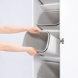 組立不要 キッチン分別タワーダストボックス 幅28.5cm スリム4分別 ゴミ箱タイプ ゴミ箱は簡単に取り外し出来ます。 ごみ箱を洗う際にとても便利です。