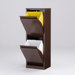カラフルなペールでわかりやすく分別できる スチール製ダストボックス 幅32cm 高さ95cm (イ)ブラウン ペール小2個