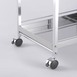 作業台下を有効活用 引き出し付きステンレスワゴン 収納棚ワゴン 幅35cm キャスター4個のうち、2個はストッパー付き。作業中は動かないように固定できます。
