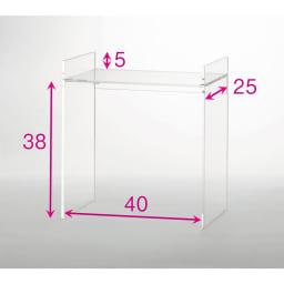 アクリル製キッチンカウンターラック 幅42cm 赤文字は内寸(単位:cm)