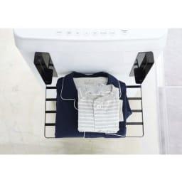 洗濯機マグネット折り畳み棚 (イ)ブラック