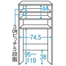 美しい光沢扉ですっきり隠せる ランドリーラック スタンドタイプ 洗濯機対応内寸目安:幅約74.5、高さ最大約119・最小約95cm