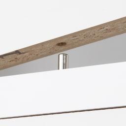天板が使える 光沢仕上げ扉付きすき間収納庫 ハイタイプ・幅30cm 上段棚部と下段引出部はジョイントピンでしっかりと固定。