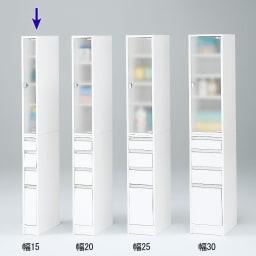 アクリル扉すき間収納庫 奥行29.5・幅15cm シリーズは幅15cm~30cmまでの5cm刻み。 4サイズから選べます。 ※写真は奥行44.5cmタイプです。
