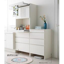 家事がしやすい サポート引き出しサニタリーチェスト ロータイプ 幅75.5cm ※写真は(左)幅75.5cm・ハイタイプ、(右)幅60.5cm・ロータイプです。