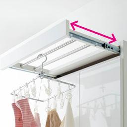 家事がしやすい サポート引き出しサニタリーチェスト ハイタイプ 幅60.5cm 上部には、出し入れ自在のタオルハンガーが付いています。
