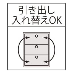 光沢仕上げ内部化粧チェスト 幅35・奥行45cm 引き出し入れ替えOK
