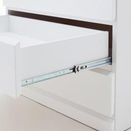 光沢仕上げ内部化粧チェスト 幅40・奥行45cm 奥まで引き出せるフルスライドレール。