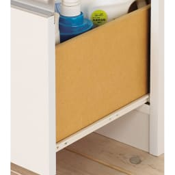 水回りでも安心の光沢洗面所チェスト 扉付きハイタイプ・幅44.5cm 引き出し最下段はスライドテーブル付き。