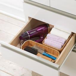 引き出しいっぱい洗面所チェスト 幅45奥行30cm 2段目・3段目はドライヤーなどかさばるものを。(内寸高さ11.5cm)