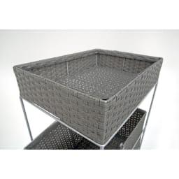ラタン調サニタリーバスケットワゴン 幅28cm (ウ)グレー