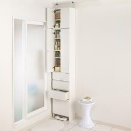 組立不要 天井まで使える薄型サニタリーチェスト 奥行23.5cmタイプ 幅50cm用「上置き(大)・高さ40cm」 ※お届けは奥行23.5cmの上置き(幅50高さ40cm)です。
