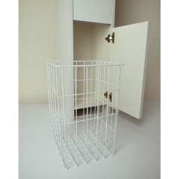 組立不要 洗濯カゴ付き2in1光沢サニタリー収納庫 ハイタイプ 幅31cm