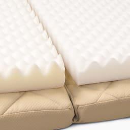 3サイズから選べる!二段ベッド用洗えるカバーの三つ折りマットレス バランスタイプ センターマットの硬めのウレタンフォームが腰をしっかり支えます。