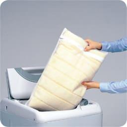 3サイズから選べる!二段ベッド用洗えるカバーの三つ折りマットレス バランスタイプ カバーは外してネットを使用し丸洗いOK。