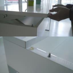 収納もたっぷり!腰かけながら使えるリフティングテーブル幅90 上部へ持ち上げればスライド昇降!閉じる時もゆっくり静かに閉じる仕様に。