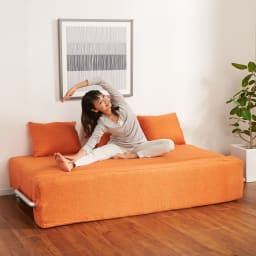 簡単にベットに変身!壁につけたまま使えるソファベッド 幅192cm 広々の座面でストレッチなども!