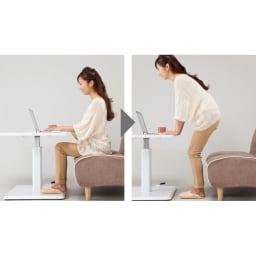 移動がしやすい!キャスター付き昇降式テーブル幅120 【ポイント】キャスター付きなので移動がしやすい。少し持ち上げて移動させてください。