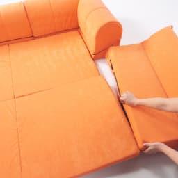 包まれるしあわせのクッション付きごろ寝ソファ 小(142×142cm) 本体と背もたれはファスナーで連結できるので、使っていてずれません。