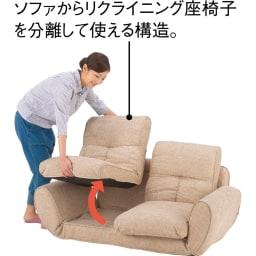 座椅子にもなる!2way省スペースソファ ラブソファ・幅126~167cm (ア)ベージュ