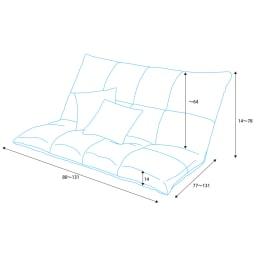 マルチリクライニング コンパクトソファ(座椅子) ハイバックタイプ 詳細図(単位:cm)