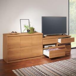 天然木調テレビ台シリーズ ハイタイプテレビ台 幅120.5高さ60cm コーディネート例